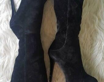 SALE Stevie Platforms size 8 Black Velvet platform Stevie nicks inspired boots