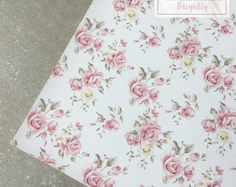 White Floral Leather Fabric - Craft & Bow Maker Fabric - A4 Sheet