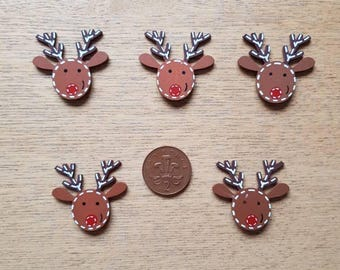 set of 5 wooden reindeers