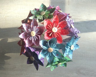 bouquet decoration paper origami fresh colorful and flowery liberty