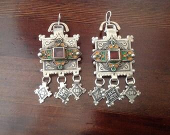 Antique Moroccan Berber Fibulae Earrings from Tiznit
