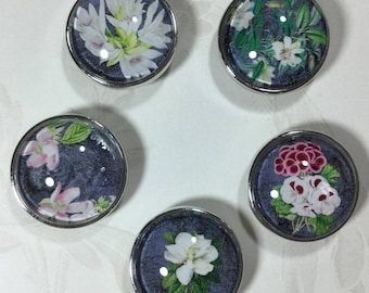 Denim Flowers 20mm Snap Charm Set of 5. FREE SHIPPING!