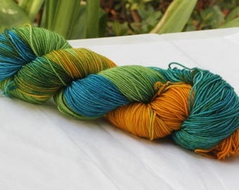 Hand Dyed 'Island' 4 ply Australian Sock Yarn 100 grams