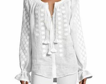 White linen blouse! FREE SHIPPING !