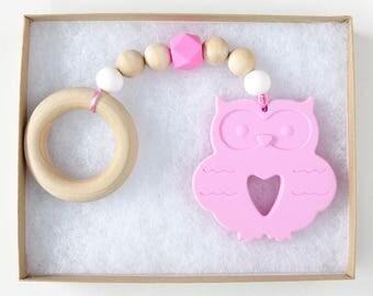 Owl Teether // Teething Ring // Wooden Teether // Wooden Teething Ring // Baby Shower Gift  // Best Teething Toy // Baby Gift // Newborn