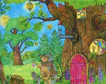 print for kids room, hedgehog painting, hedgehog print, hedgehog print nursery, print for girls room, print for baby room, evening print