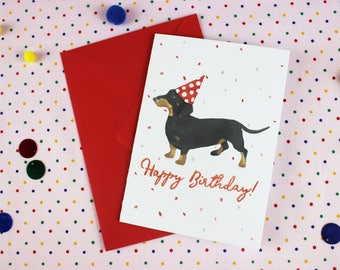 Dachshund Birthday card / Dog Birthday card / Personalised card / Sausage Dog card / Wiener dog card / Cute birthday card / Dachshund card.