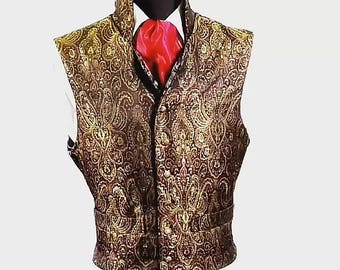 Regency gold brocade steampunk waistcoat