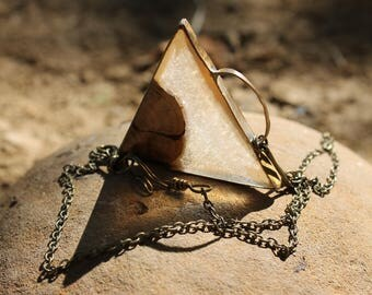 triangle driftwood necklace
