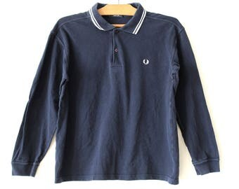 90's Fred Perry Sweatshirt, Vintage Fred Perry Jumper, Long Sleeve Fred Perry Shirt, Blue Fred Perry Polo Shirt, Hip Hop Streetwear Size L
