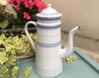 JAPY Enamel Coffee Pot - Original French Vintage - White with Blue stripe - Enamel Coffee Pot - French Enamelware - Drip method Cafetiere