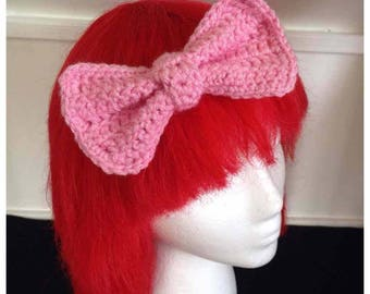 Pink Crochet Hair-bow with free shipping