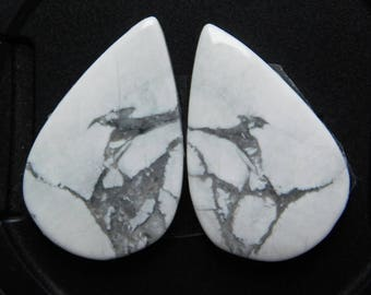 Pair ! Awesome quality Howlite gemstone Cabochons looking Excellent Quality Natural handmade Gemstone Top quality 38.35cts (27x17x4)mm