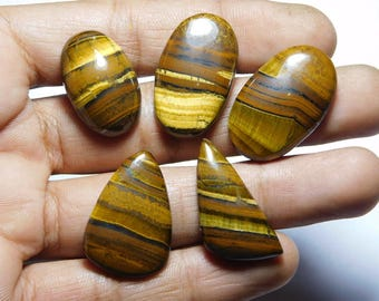 Rare ! Awesome African Tiger gemstone Cabochons African Tiger Excellent cabochons Designer Amazing loose gemstone 109.40cts, 5 Pieces.