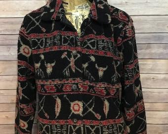 Woolrich Southwest Pattern Wool Button Up Jacket (Women L)