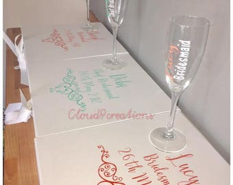 bridemaid gift from bride, Champagne Glass Flute, Personalised keepsake gift for wedding, personalised gift