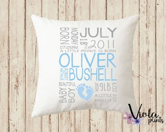 Personalised Baby Boy Cushion New Baby Gift Baby Boy Christening Gift Personalised Pillow