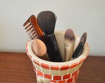 mosaic planter, utensil holder, cutlery holder, make-up brush holder