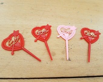 Four vintage cake or sandwich decorative toppers, love heart design