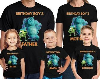 Monster University Birthday Shirt Personalized Name and Age Custom Monster University Family Birthday T-Shirt