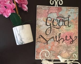Good Vibes Travel Canvas | 8 x 10 in | Travel Art & Map Canvas | Hanging Wall Art/Decor | Custom Canvas