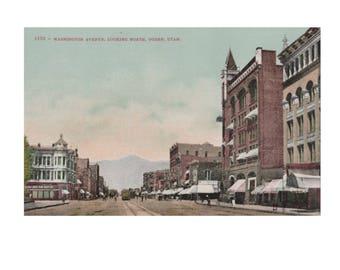 UTAH: Washington Avenue, Looking North, Ogden - Vintage Divided-Back Postcard, 1907-1914