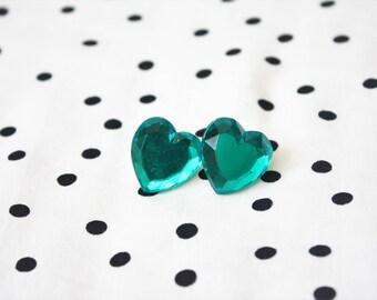 Green Heart Rhinestone Post Earrings