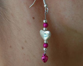 Heart earrings, pink and bell pearls, girly, nickel free