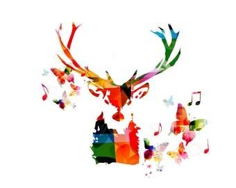 Abstract colorful deer head close up with butterflies Art Print Poster Matt / Silk