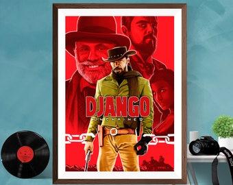 DJANGO UNCHAINED Movie Poster Print Alternative Artwork Leonardo Dicaprio Jamie Foxx Tarantino Wall Art Deco Cinema Film Print Canvas/Matt