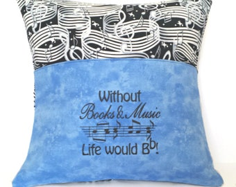 Music Reading Pocket Pillow - Reading Pillow, Pocket Pillow, Without Books & Music Life would Bb, Reading Gift, Music Gift