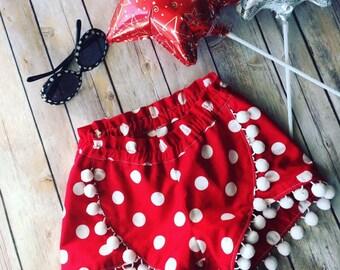 Girls Shorts, Girls Clothes, Little girls Shorts, Shorts Pom, Disney Clothes for Girls, Disney Clothing, Polka Dot Shorts, Polka Dots