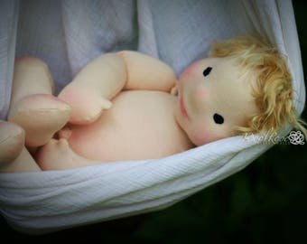 """CUSTOM 12"""" Weighted Baby style Natural Fiber Art Doll, Waldorf Inspired, Baby Doll, Handmade, Collectible, OOAK, Hierloom"""