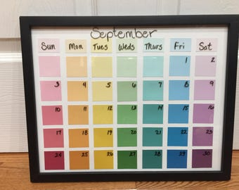 BACK TO SCHOOL: Paint Chip Calendar///Calendar customized/// Dry Erase Calendar///Dorm Calendar// Dry Erase Calendar 11x14///roomate gift