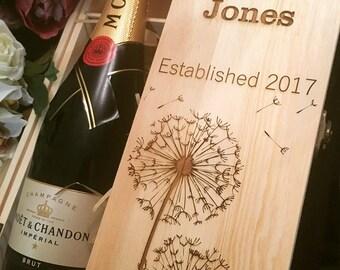 Dandelion engraved wine box