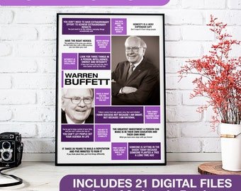 Motivational Quote Poster | Digital Print of Inspirational Quotes from Warren Buffett | Business Icons | A2,A3,A4 Sizes | INSTANT DOWNLOAD