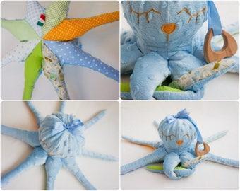 Cute plushe light blue octopus/octopus/octopus baby toy pink cuddly stuffed Sensory/nautical nursery/octopus nursery art/puppet octopus