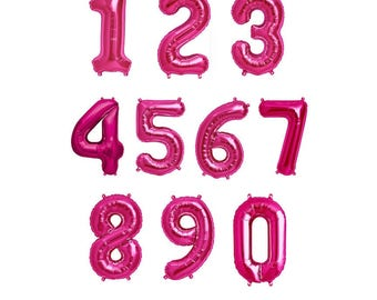 """16"""" Magenta Pink Foil Mylar Number Balloons"""