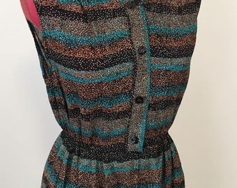 Vintage 1990s brown & green tiny spot tea dress. Size Small