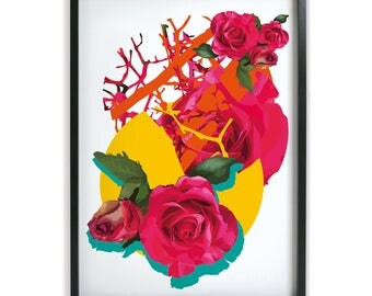 Rose, Tree, Twigs, abstract art print, bright and lively, vibrant wall art