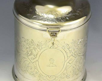 Antique English Hand Engraved Silver Plate Biscuit Barrel / Cookie Jar