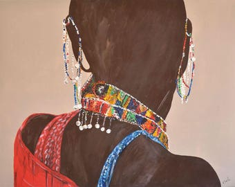 Masai, back with multiple beads and colorful jewelry
