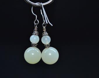 Earrings - silver and green Quartz