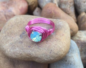 Childrens pink wire pacific opal ring little girl toddler teen princess sizes