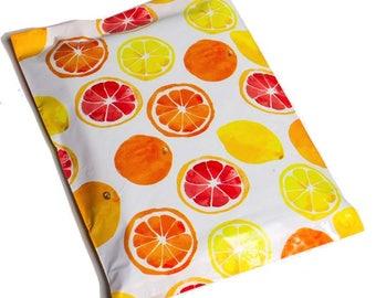 "50-200 Pack 10x13"" Designer Mailers Self Adhesive Orange Lemon Citrus Poly Plastic Shipping Bag"