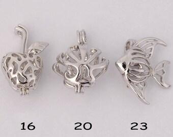 18KGP love pearl pendant cages (apple shape, chrysanthemum and fish) CDWG44--6 pcs set