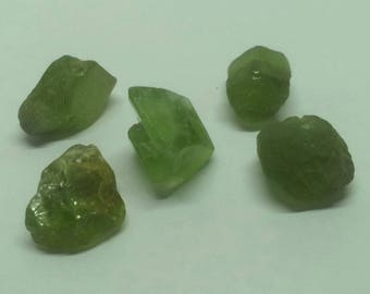 WOW 37.8 CT, Five Natural Rough Peridot Crystal Specimens from Pakistan