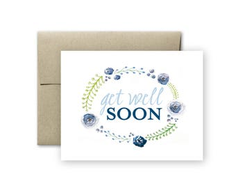 Get Well Soon Card - Get Well Card - Watercolor Card - Feel Better Soon Card - Blank Card - Greeting Card