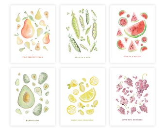 Assorted Boxed Set - Watercolor Cards - Greeting Card Set - Greeting Cards - Box Set - Greeting Cards - Fruit Cards
