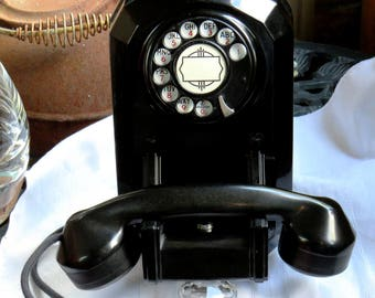 Automatic Electric (AE)-Art Deco- Rotary Wall Phone-(Mod AE-50) Fully Restored-Ex. Working Condition-Such a Neat & Unique Design